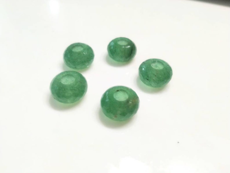 Natural Green Strawberry Quartz Gemstone Fancy Stylist Rondelle Big Hole Loose Beads 5 Pcs 14X8 MM 5 MM hole