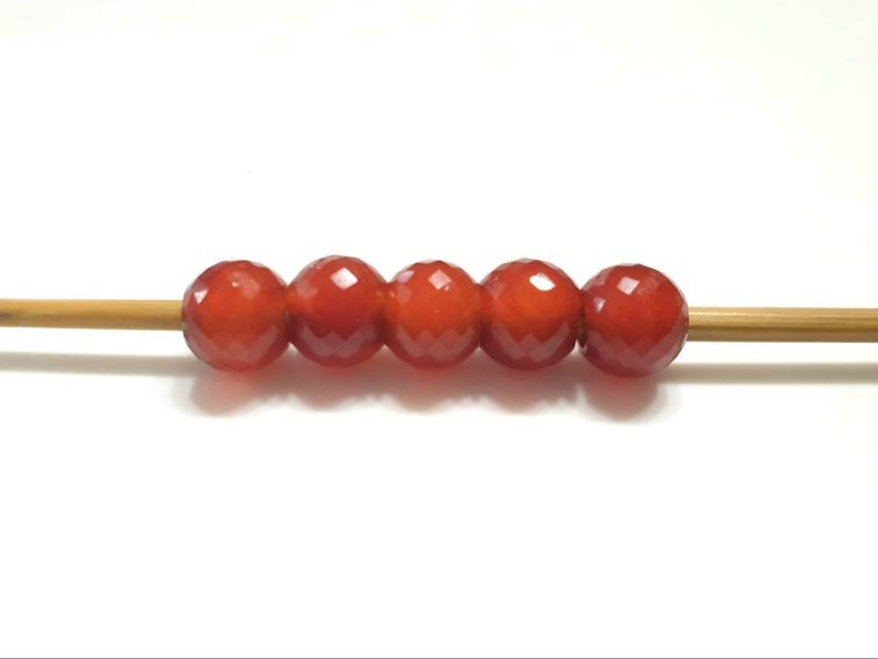 Natural Red Onyx Gemstone European style Round Faceted Beads 12 mm With 5 mm Hole