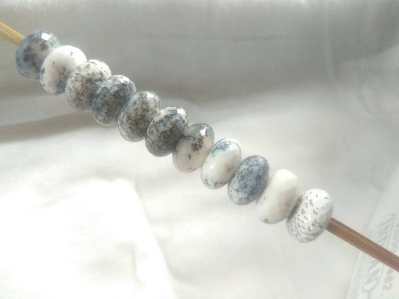 Natural Dendritic Agate Fancy Stylist Rondelle Big Hole Loose Beads 11 Pcs  14X8 MM 5.00 MM hole