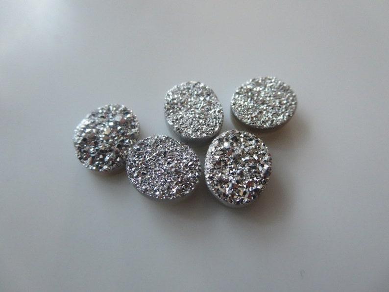 5 Pcs Oval 11X9 mm Silver Druzy Stone Agate