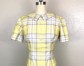 Yellow Plaid Cotton Fit and Flare Dress With A Peter Pan Collar & Metal Zipper
