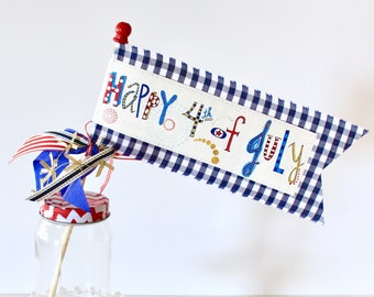 Happy 4th of July navy gingham little celebration flag