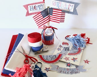 Patriotic Parade Bike/Wagon/Car Decoration Kit: DIY supplies - prints to cut, clip and create, hand-painted & hand-lettered by Aimee Ferre