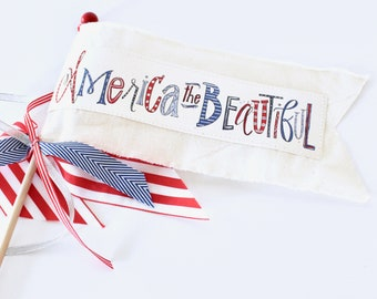 America the Beautiful little celebration parade flag