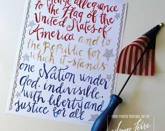 """Pledge of Allegiance - 8  1/2 x 11"""" or 11x14"""" art print signed by Aimee Ferre"""