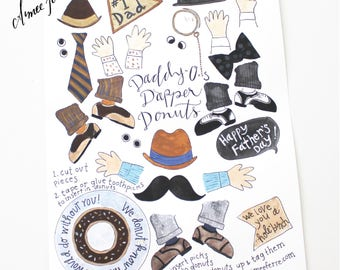 Dapper Daddy-O Donuts Illustrated Color printable