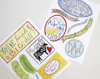 Father's Day DIY Gifts Tags:  Food Labels, Gift Tags and a Photo Card - 3 Pages of Printables!
