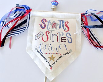 Stars and Stripes Forever Porch Sign with Wooden Dowel Stake