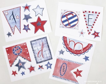 """Digital Patriotic Garland Kit: """"FREEDOM"""" 31 pieces to print, cut and create, hand-painted & hand-lettered by Aimee Ferre"""