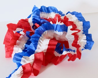 Red, White and Blue, 4-Streamer Crepe Paper Ruffle - 3 yards
