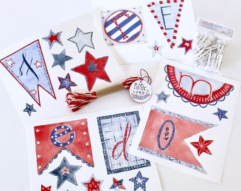 """Patriotic Garland Kit: """"FREEDOM"""" 31 pieces to cut clip and create, hand-painted & hand-lettered by Aimee Ferre"""