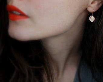 Rose Gold Earrings dainty jewellery rose gold filled earrings rose gold disc earrings rose gold jewelry everyday jewellery hammered disc