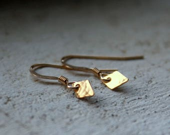 TINY yellow gold earrings Dainty gold filled earrings minimal jewelry everyday gold jewelry yellow diamond earrings Understated jewelry