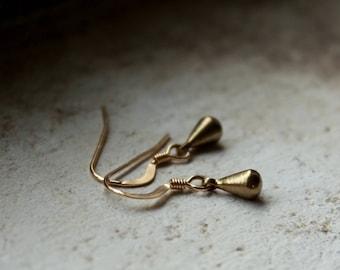Tiny Gold Drop Earrings Teardrop dangly earrings small brass earrings solid brass drops Everyday jewelry boho earrings simple drop earrings