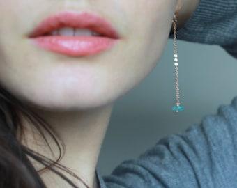 Long Rose Gold Earrings Apatite Dangle Earrings Rose Gold Chain Earrings Raw gemstone jewelry Blue and Rose Gold Earrings Aqua Gemstone