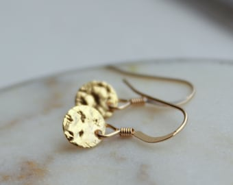 Hammered Disc Earrings, Gold Coin Earrings, Tiny gold earrings, gold filled jewelry, egyptian jewelry, grecian jewelry, everyday jewelry