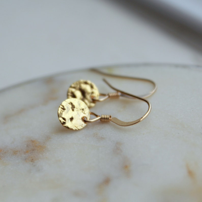 Hammered Disc Earrings Gold Coin Earrings Tiny gold image 0