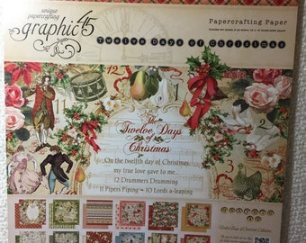 "Graphic 45 ""Twelve Days of Christmas"" 12 x 12 Paper Pad RETIRED!"