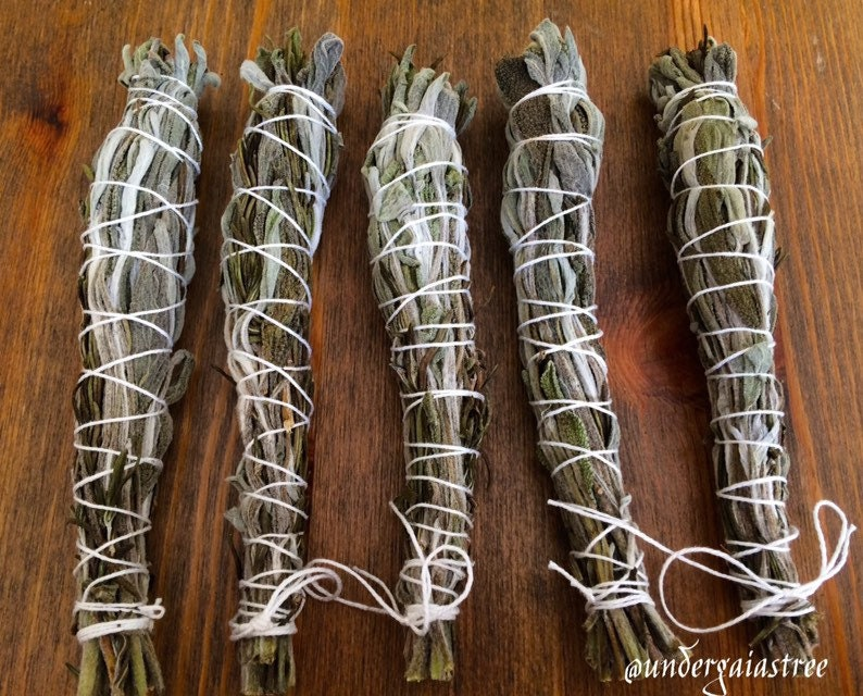 5 Organic Rosemary & Sage Smudge Sticks / Smoke Cleansing wand for spirit  cleansing / witchcraft / wiccan use