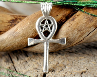 Ankh with Star ~ Sterling Silver Pendant ~ Kemetic ~ Pentacle Pentagram ~ Ancient Egyptian Symbol of Eternal Life