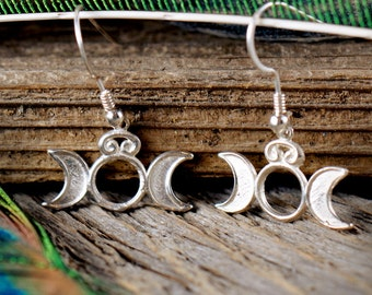 Triple Goddess ~ Sterling Silver Earrings ~ Moon Luna Lunar Phases ~ Maiden Mother Crone ~ Pagan Wicca Witch Priestess