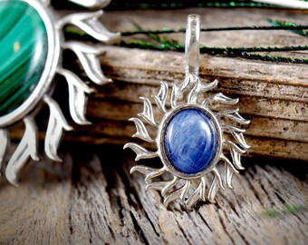 Flame of Splendor ~ Sterling Silver Pendant with Genuine Gemstone Cabachon ~ Fire ~ Sun ~ Radiant ~ Beauty