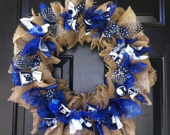 BYU Wreath Brigham Young University Blue and White Wreath Game Day Wreath Front Door Decoration Rag Wreath Custom Wreath Any Team Colors