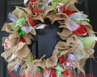 Christmas Wreath Red Lime Green and Silver Front Door Decoration Burlap Christmas Wreath Christmas Rag Wreath Christmas Front Door Wreath