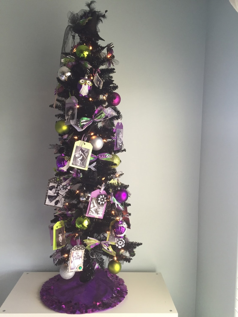 Halloween Decor Inspired by Wicked the Musical, Vintage Witches, Halloween  Tree, Black Tinsel Tree, Pin Up Witches, Local Pickup Only