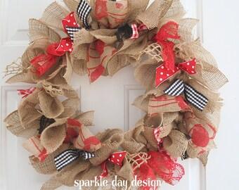 Valentine Wreath Red and Black Wreath Valentine Door Wreath Front Door Decoration Burlap Rustic Valentines Wreath Rag Wreath Year Round