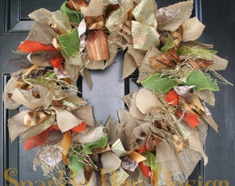 Fall Wreath Thanksgiving Wreath Burlap Fall Wreath Fall Colors Fall Front Door Decoration Fall Rag Wreath Orange Green Brown Gold Wreath