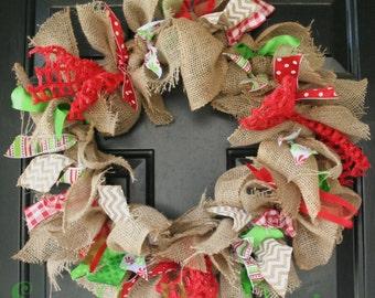 Christmas Wreath Front Door Decoration  Burlap Christmas Wreath Christmas Rag Wreath Christmas Front Door Wreath Red and Green Wreath