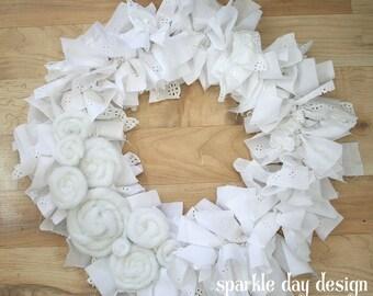 White Wreath Spring Wreath Summer Wreath Rag Wreath Baby Quilt Wreath Wedding Decoration Front Door Decoration Custom Wreath Heirloom Wreath