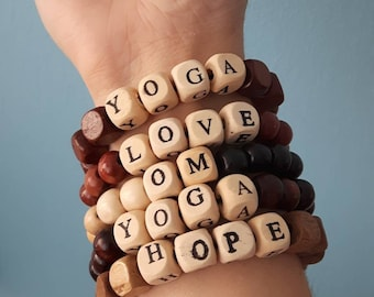 Wood Bracelet inspirational yoga themed
