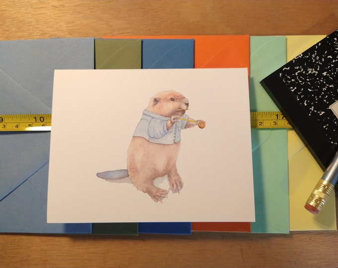 Busy Beaver Folded Note Card