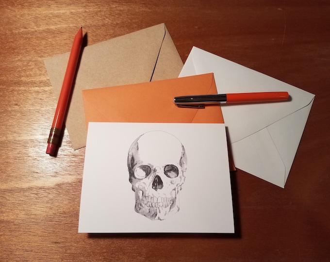 Smiling Skull Halloween Folded Notecard Pack of 10