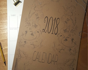 Extra Large 12 month Calendar, with watercolored animals