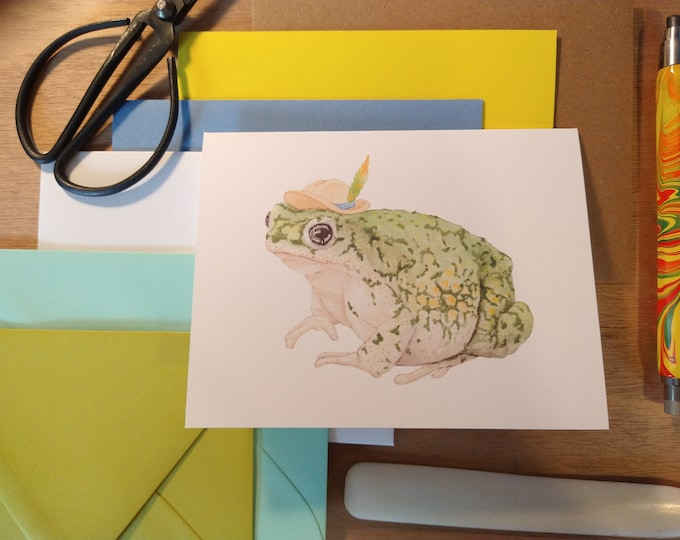 Traveling Toad Folded Note Card
