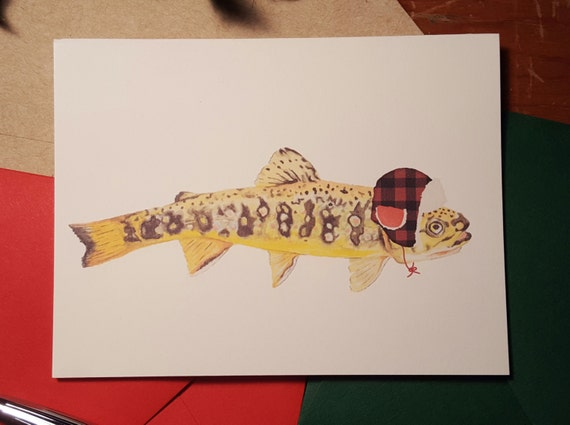 2dafeed7ab Trout in hunting hat folded note card with your choice of