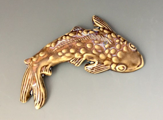 Porcelain Koi Fish, ceramic carp, kiln fired clay fish tile for mosaic art and craft, jewelry making, creative projects.