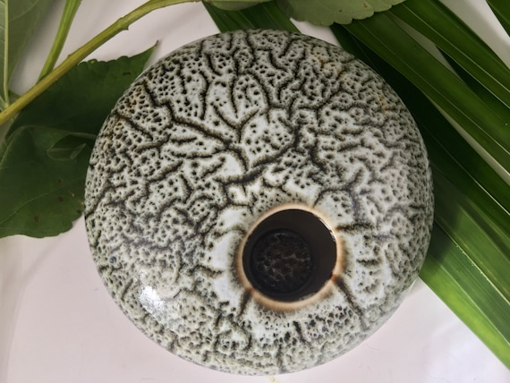 Porcelain Ikebana Flower vase, enclosed bowl with permanently fixed pin frog, Kenzan vase, handmade flower arranging pottery