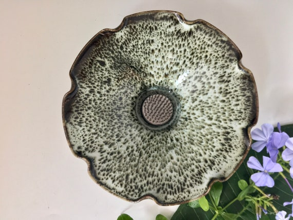 Ikebana with Pin Frog, Japanese Style Flower Arranging Vase, Centerpiece, Porcelain Pottery, Open Flower Bowl, Vase with Floral Frog, Kenzan
