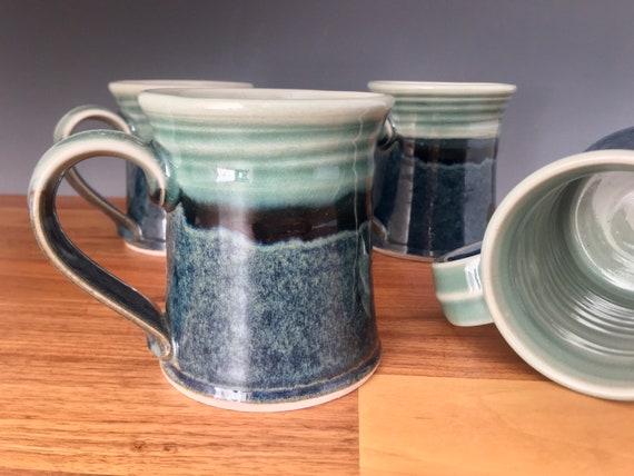 Coffee mug, Handmade Pottery, high fired porcelain, tea cup, blue green art melt glaze, coffee mug, tea cup use for hot or cold