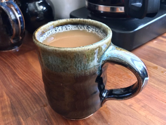 Handmade pottery coffee mug, stoneware handled hot or cold beverage cup, large 12oz handmade drink mug, wheelthrown art drip glaze pottery