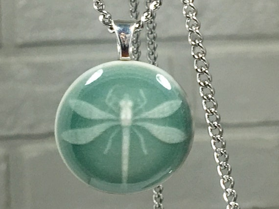 Dragonfly pendant necklace, porcelain pendant, clay button dragonfly jewelry, pendant and chain