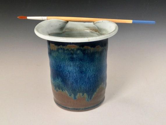 Paintbrush cup, painters brush rest rimmed paint water rinse jar, artist brush holder pot, handmade pottery, gift for artist.
