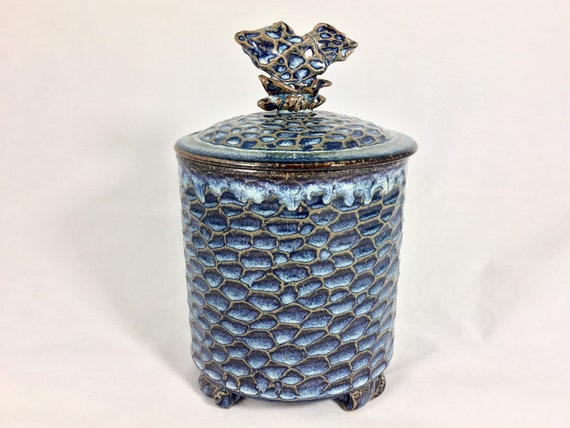 Stash pot, ceramic footed jar with sculptural lid, carved texture rutile blue glazed stoneware canister, one of a kind handmade pottery jar