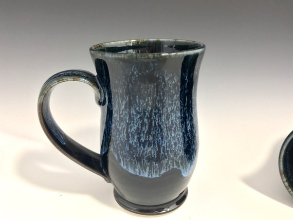Pottery coffee mug, stoneware hot or cold beverage cup, large 12oz handmade pottery pedastal drink mug, wheelthrown art melt drip glaze