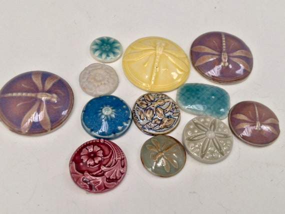 Pottery buttons, Clay cabochons, jewelry making, mosaic art and craft supplies, high fired porcelain assortment.