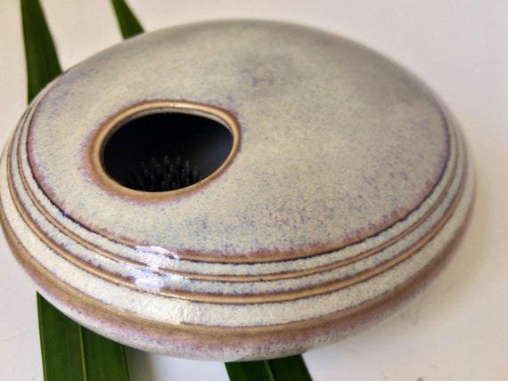 Ikebana Flower vase, porcelain open bowl with flower frog, permanently fixed pin frog, Kenzan vase, flowre arranging vase, handmade pottery